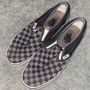 Black and Gray Checkerboard Slip On Vans